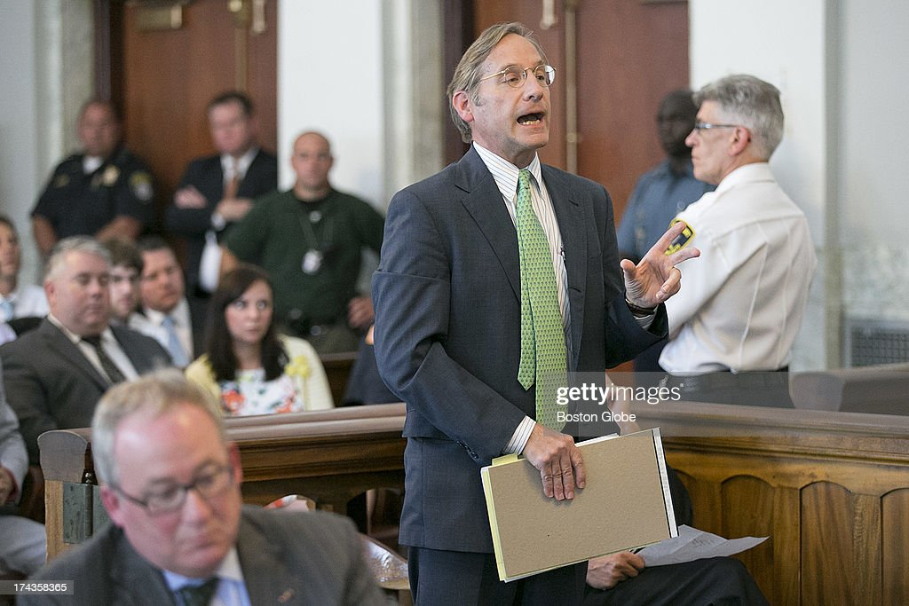 Michael Grygiel, a lawyer representing media groups asking for the release of the arrest warrant for Aaron Hernandez spoke in the court room. Former New England Patriots tight end Aaron Hernandez appeared in Attleboro District Court in Attleboro, Mass. on Wednesday, July 24, 2013.