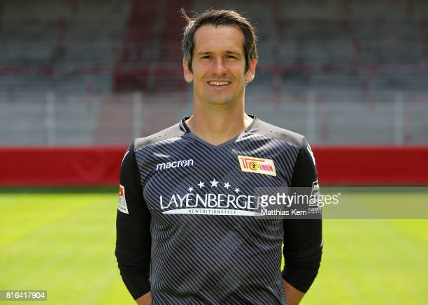 Michael Gspurning of 1 FC Union Berlin poses during the team presentation at Stadion an der Alten Foersterei on July 17 2017 in Berlin Germany