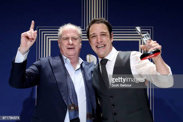 Michael Gudinski poses with Samuel Johnson after winning the Logie Award for Best Actor for 'Molly' during the 59th Annual Logie Awards at Crown...