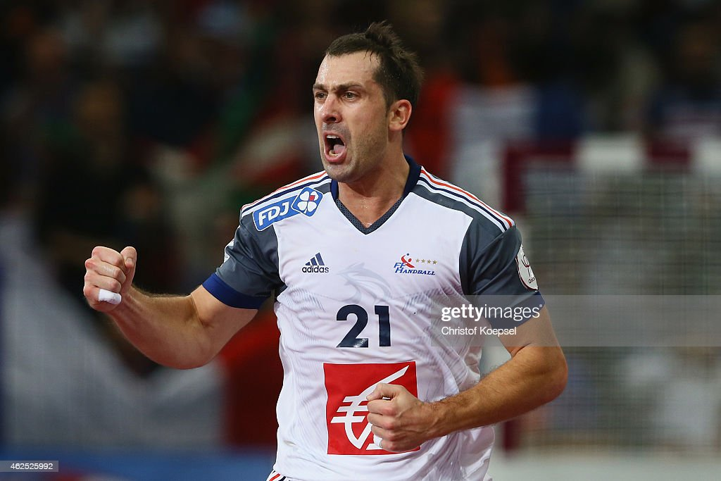 <a gi-track='captionPersonalityLinkClicked' href=/galleries/search?phrase=Michael+Guigou&family=editorial&specificpeople=791016 ng-click='$event.stopPropagation()'>Michael Guigou</a> of France celebrates a goal during the semi final match between Spain and France at Lusail Multipurpose Hall during the Men's Handball World Championship on January 30, 2015 in Doha, Qatar.