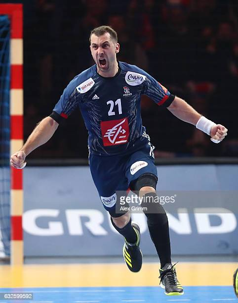 Michael Guigou of France celebrates scoring a goal during the 25th IHF Men's World Championship 2017 Quarter Final match between France and Sweden at...
