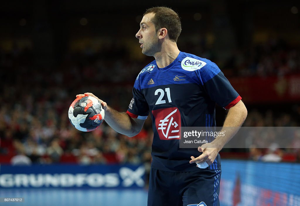 <a gi-track='captionPersonalityLinkClicked' href=/galleries/search?phrase=Michael+Guigou&family=editorial&specificpeople=791016 ng-click='$event.stopPropagation()'>Michael Guigou</a> of France in action during the Men's EHF European Handball Championship 2016 between France and Denmark at Centennial Hall on January 29, 2016 in Wroclaw, Poland.