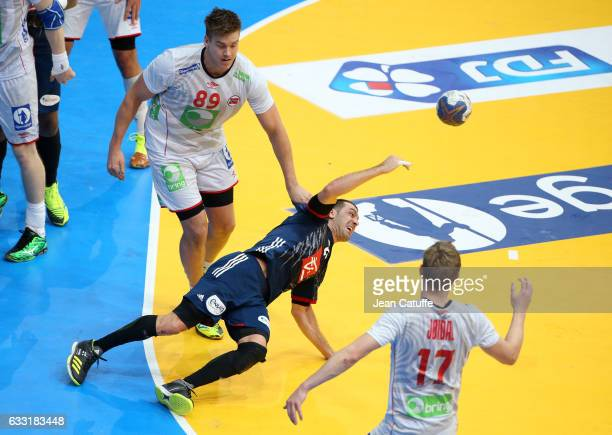 Michael Guigou of France scores a goal during the 25th IHF Men's World Championship 2017 Final between France and Norway at Accorhotels Arena on...