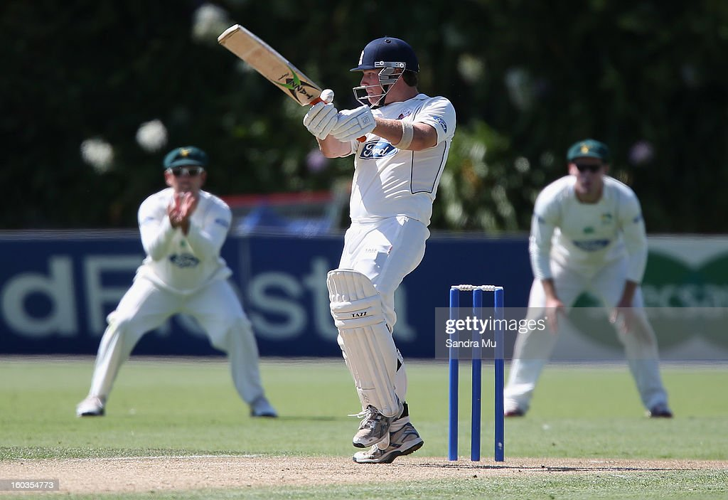 Michael Guptill-Bunce of the Aces bats on day one of the Plunket Shield match between the Auckland Aces and the Central Stags January 30, 2013 in Auckland, New Zealand.