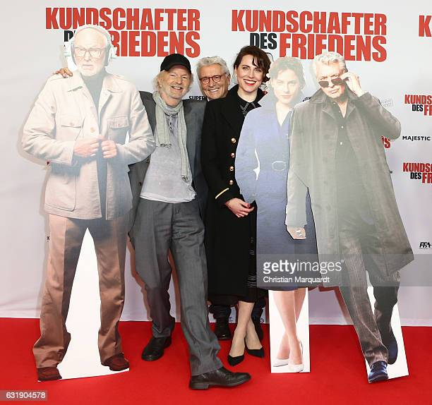 Michael Gwisdek Henry Huebchen and Antje Traue the main cast of the movie attend the 'Kundschafter des Friedens' Premiere at Kino International on...