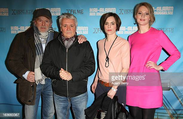 Michael Gwisdek Henry Huebchen Annika Kuhl and AnnaMaria Hirsch arrive for the premiere of the film 'HaiAlarm am Mueggelsee' on March 14 2013 in...