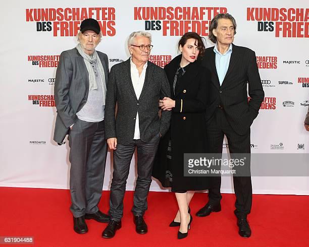 Michael Gwisdek Henry Huebchen Antje Traue and Friedrich Glatzeder the main cast of the movie attend the 'Kundschafter des Friedens' Premiere at Kino...