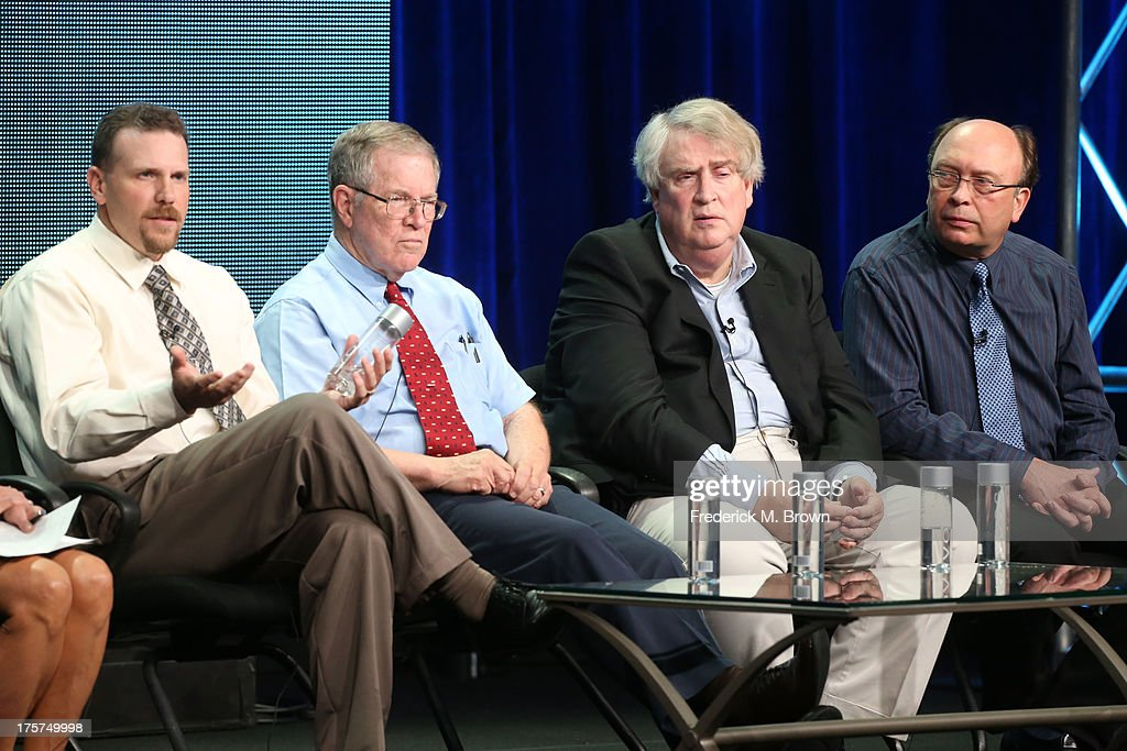 Michael Haag, Senior Forensic Scientist, Albuquerque Police Department, forensic consultant Lucien Haag, professor John McAdams and writer/director/producer Rush DeNooyer speak onstage during the 'Cold Case JFK' panel discussion at the PBS portion of the 2013 Summer Television Critics Association tour at the Beverly Hilton Hotel on August 7, 2013 in Beverly Hills, California.