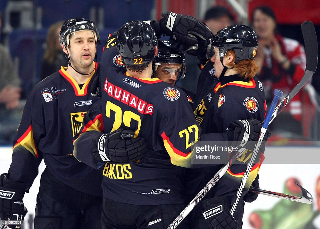Michael Hackert of Germany celebrate with his team mates after he scores the 1st goal during the Vancouver 2010 Qualifier match between Germany and...