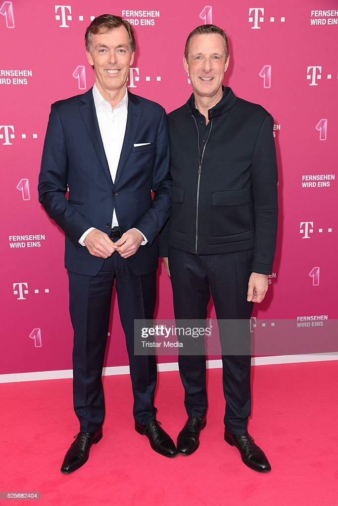 Michael Hagsphil, and Niek Jan van Damme attend the Telekom Entertain TV Night at Hotel Zoo on April 28, 2016 in Berlin, Germany.