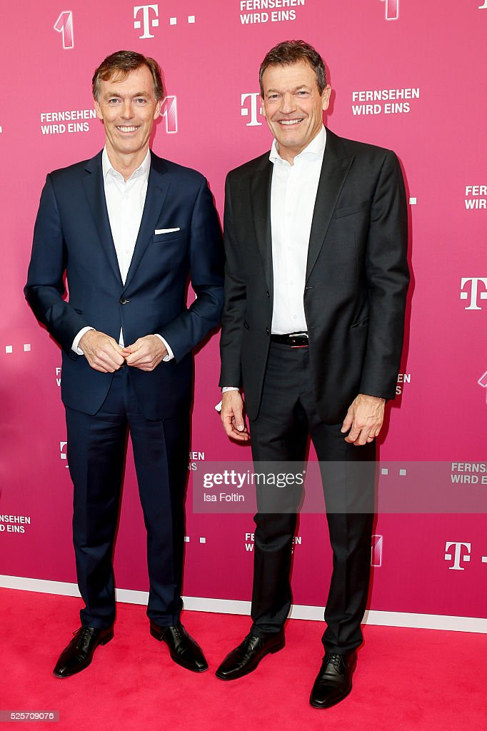Michael Hagsphil CEO Telekom private customers and Andreas Jung manager of FC Bayern Mnchen attend the Telekom Entertain TV Night at Hotel Zoo on...