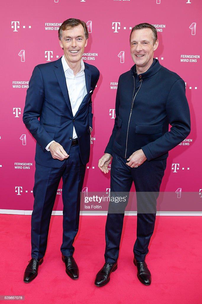 Michael Hagsphil, CEO Telekom private customers and Niek Jan van Damme, manager Telekom Germany attend the Telekom Entertain TV Night at Hotel Zoo on April 28, 2016 in Berlin, Germany.