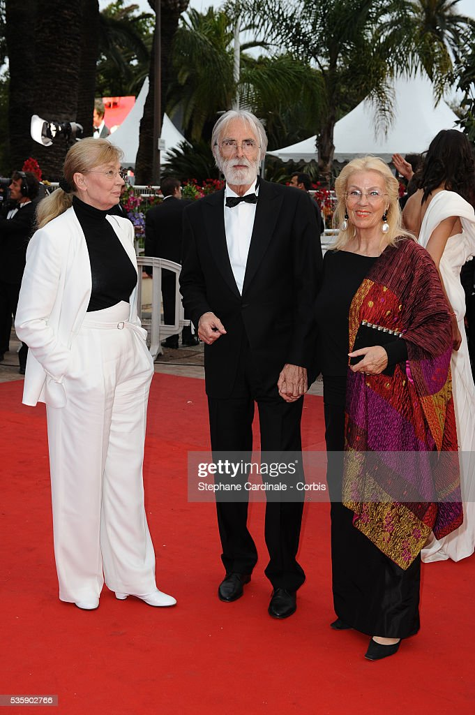 Michael Haneke and his wife at the Premiere for 'You will meet a tall dark stranger' during the 63rd Cannes International Film Festival.