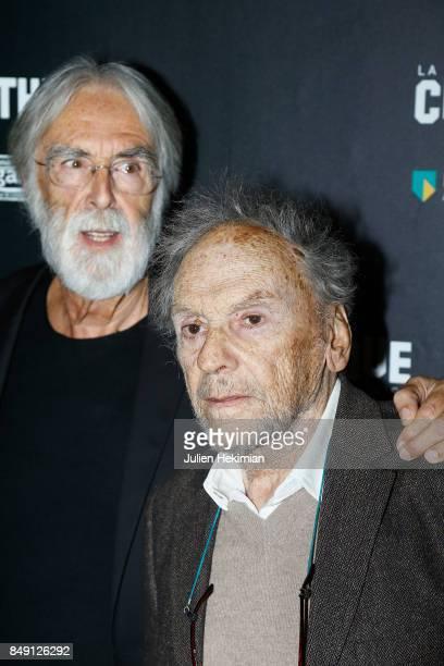 Michael Haneke and Jean Louis Trintignant attend 'Happy End' Paris Premiere at la cinematheque on September 18 2017 in Paris France