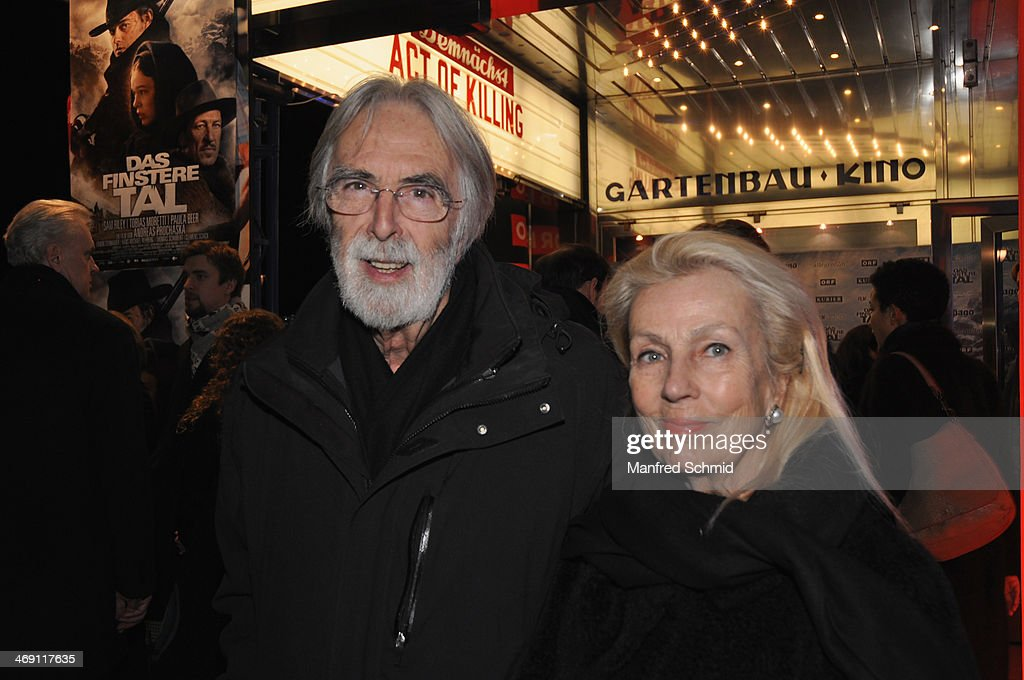 <a gi-track='captionPersonalityLinkClicked' href=/galleries/search?phrase=Michael+Haneke&family=editorial&specificpeople=233739 ng-click='$event.stopPropagation()'>Michael Haneke</a> and Susi Haneke attends the Austrian premiere of 'Das Finstere Tal' at Gartenbau cinema on February 11, 2014 in Vienna, Austria.