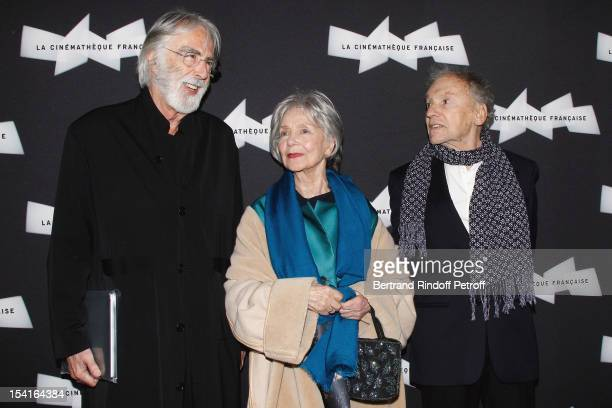 Michael Haneke Austrian director Emmanuelle Riva and JeanLouis Trintignant attend attend 'Amour' Premiere at la cinematheque on October 15 2012 in...