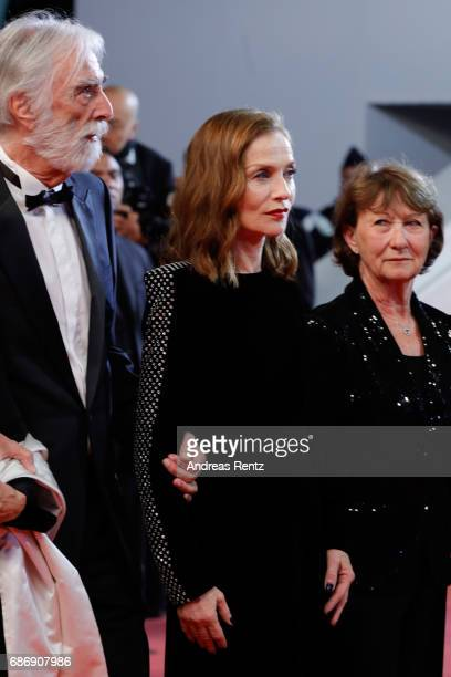 Michael Haneke Isabelle Huppert and Marianne Hoepfnerattend the 'Happy End' screening during the 70th annual Cannes Film Festival at Palais des...