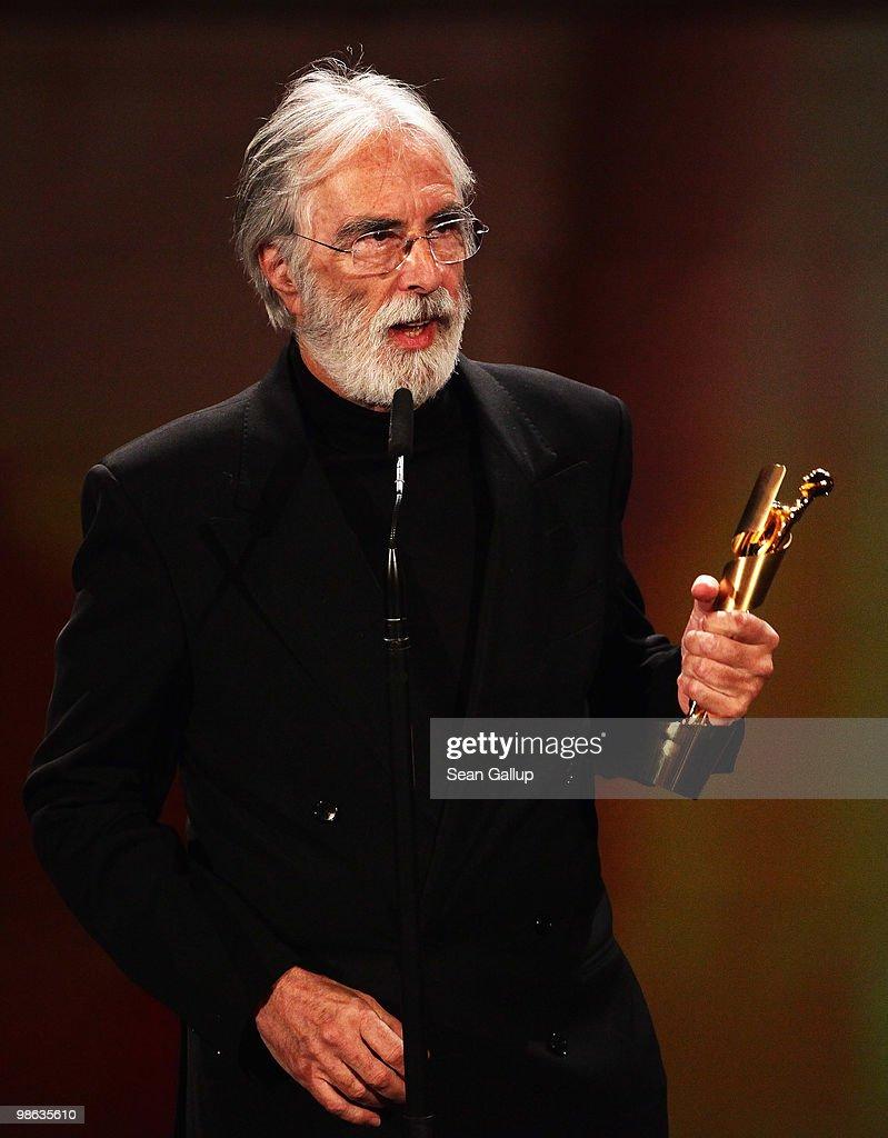Michael Haneke recieves his Lola award during the German film award Gala at Friedrichstadtpalast on April 23, 2010 in Berlin, Germany.