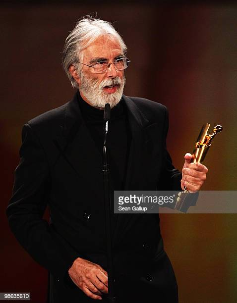 Michael Haneke recieves his Lola award during the German film award Gala at Friedrichstadtpalast on April 23 2010 in Berlin Germany