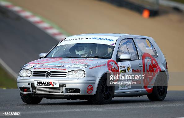 Michael Harding drives his Mark 4 VW Golf during the MotorSport Vision Racing 2015 Media Launch at Brands Hatch on February 18 2015 in Longfield...