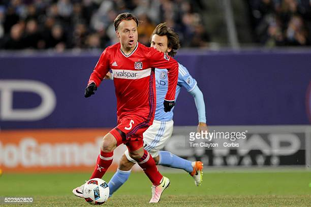 Michael Harrington Chicago Fire in action during the New York City FC Vs Chicago Fire MLS regular season match at Yankee Stadium on April 10 2016 in...