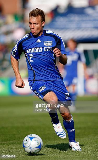 Michael Harrington of the Kansas City Wizards dribbles against the Colorado Rapids during the game at Community America Ballpark on April 5 2008 in...