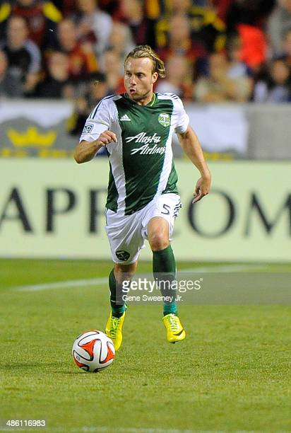 Michael Harrington of the Portland Timbers runs down field during their game against Real Salt Lake at Rio Tinto Stadium April 19 2014 in Sandy Utah