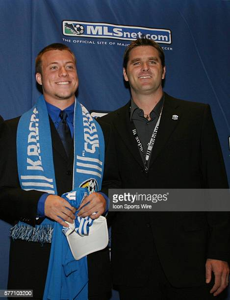 Michael Harrington was selected by the Kansas City Wizards with the No3 overall pick Head coach Curt Onalfo poses with him The 2007 MLS SuperDraft...