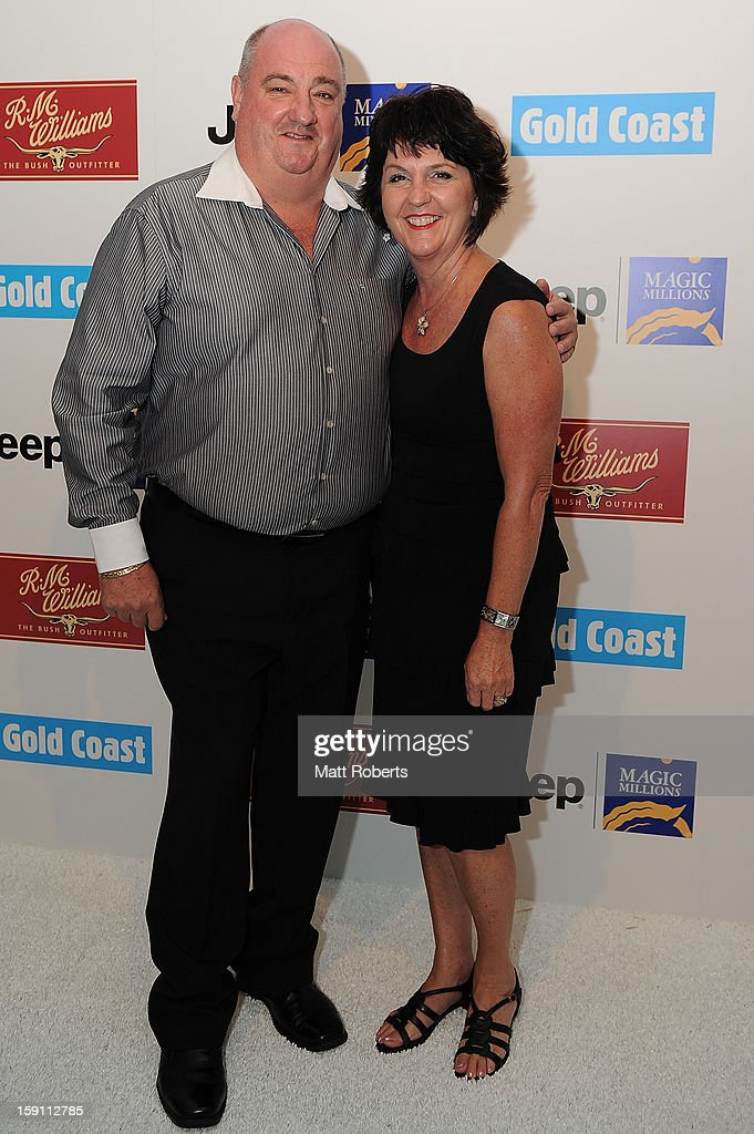Michael Hart and Jann Stuckey pose during the Magic Millions Opening Night cocktail party at Surfers Paradise foreshore on January 8, 2013 in Surfers Paradise, Australia.