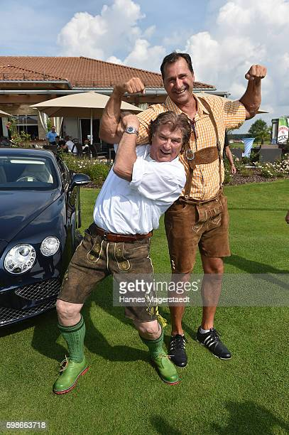 Michael Hartl and Lars Riedel during the 5th Lederhos'n Cup on September 2 2016 in Valley near Holzkirchen Germany