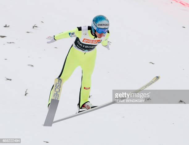 Michael Hayboeck from Austria soars during FIS Ski Jumping World Cup Men´s HS225 in Vikersund on March 19 2017 / AFP PHOTO / NTB Scanpix / Terje...