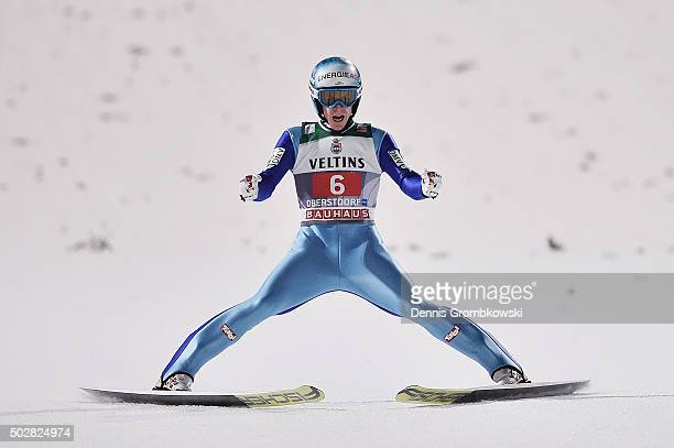 Michael Hayboeck of Austria celebrates after his final competition jump on Day 2 of the 64th Four Hills Tournament event on December 29 2015 in...