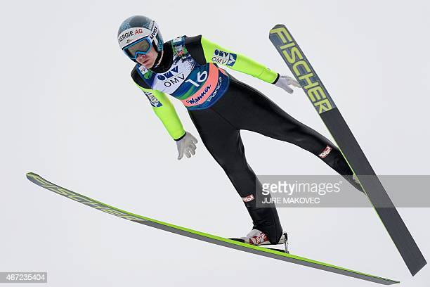 Michael Hayboeck of Austria competes during FIS Ski Flying World Cup Individual Event in Planica on March 22 2015 AFP PHOTO / JURE MAKOVEC