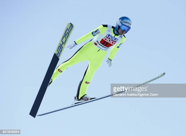 Michael Hayboeck of Austria competes during the FIS Nordic World Ski Championships Men's Team Ski Jumping HS130 on March 4 2017 in Lahti Finland