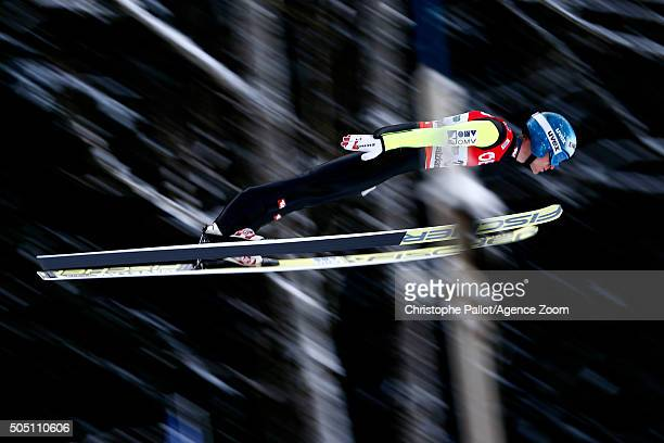 Michael Hayboeck of Austria competes during the FIS Ski Flying World Championships Men's HS225 on January 15 2016 in Bad Mitterndorf Austria