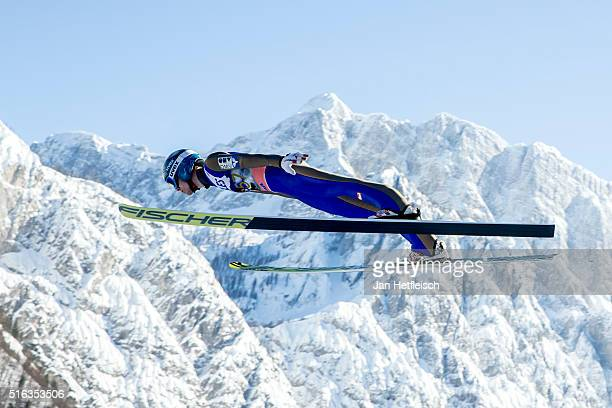Michael Hayboeck of Austria competes during the qualification run of the FIS Ski Jumping World Cup at Planica on March 18 2016 in Planica Slovenia