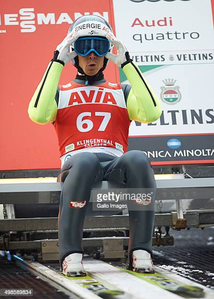 Michael Hayboeck of Austria competes in the trial round of FIS Ski Jumping World Cup competition on November 21 2015 in Klingenthal Germany