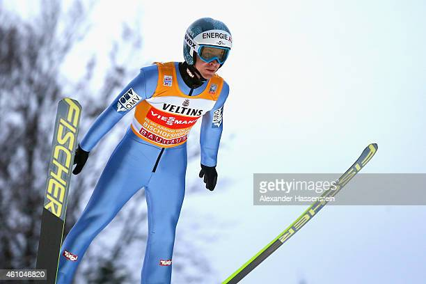 Michael Hayboeck of Austria competes on day 7 of the Four Hills Tournament Ski Jumping event at PaulAusserleitnerSchanze at SeppBradlStadion on...