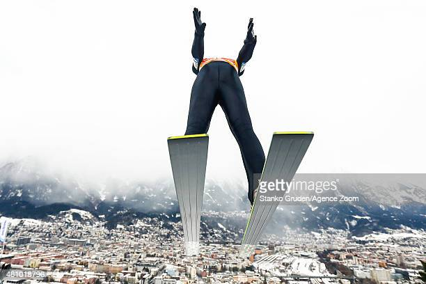 Michael Hayboeck of Austria during the FIS Ski Jumping World Cup Vierschanzentournee on January 04 2015 in Innsbruck Austria