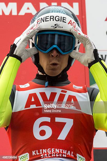 Michael Hayboeck of Austria prepares for his jump during the training session at the FIS World Cup Ski Jumping day two on November 21 2015 in...