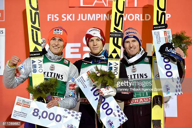 Michael Hayboeck of Austria takes 1st place Daniel Andre Tande of Norway takes 2nd place Severin Freund of Germany takes 3rd place during the FIS...