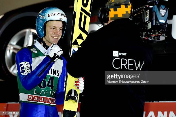 Michael Hayboeck of Austria takes 1st place during the FIS Nordic World Cup Men's Ski Jumping HS130 on February 19 2016 in Lahti Finland
