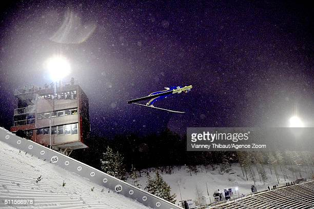 Michael Hayboeck of Austria takes 1st place during the FIS Nordic World Cup Men's Ski Jumping HS130 on February 21 2016 in Lahti Finland
