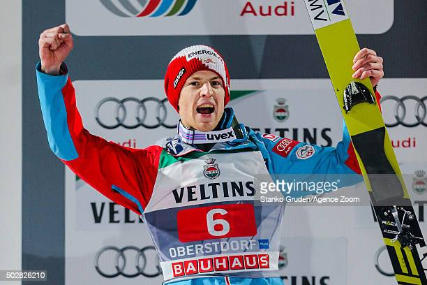 Michael Hayboeck of Austria takes 2nd place during the FIS Nordic World Cup Four Hills Tournament on December 29 2015 in Oberstdorf Germany