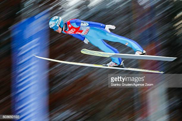 Michael Hayboeck of Austria takes 3rd place the FIS Nordic World Cup Four Hills Tournament on January 6 2016 in Bischofshofen Austria