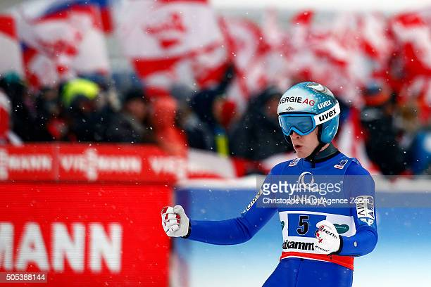 Michael Hayboeck of Austria wins bronze medals during the FIS Ski Flying World Championships Team HS225 on January 17 2016 in Bad Mitterndorf Austria