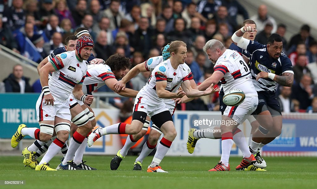 Michael Heaney of Doncaster passes the ball during the Greene King IPA Championship Play Off Final second leg match between Bristol and Doncaster Knights at Ashton Gate on May 25, 2016 in Bristol, England.