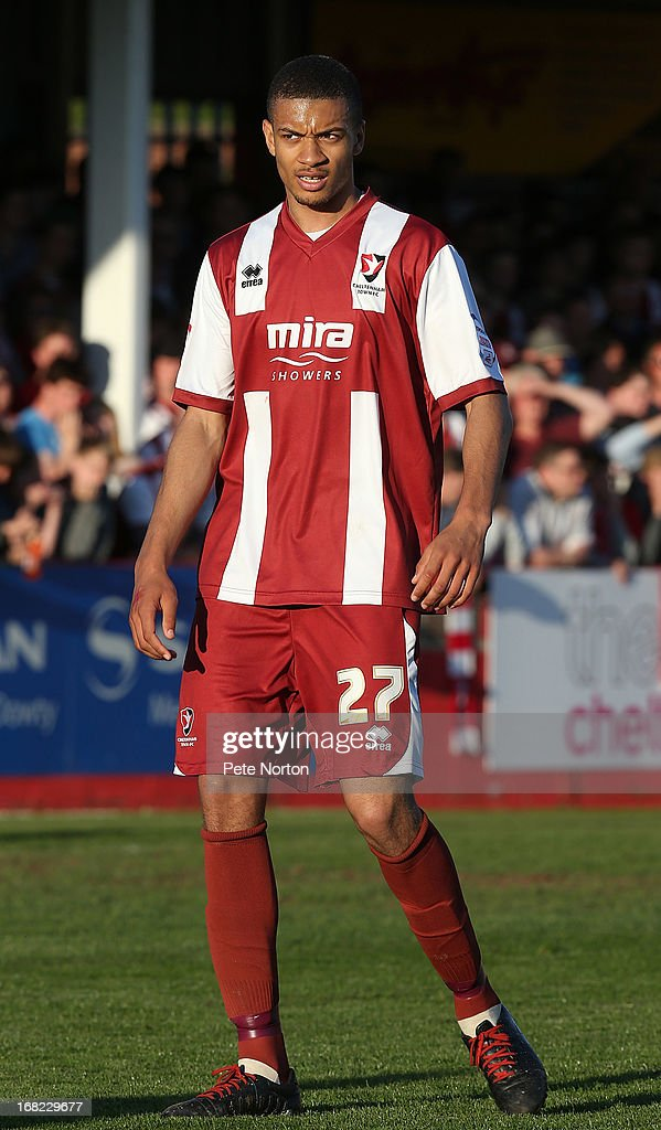 Michael Hector of Cheltenham Town in action during the npower League Two Play Off Semi Final Second Leg between Cheltenham Town and Northampton Town at Abbey Business Stadium on May 5, 2013 in Cheltenham, England.
