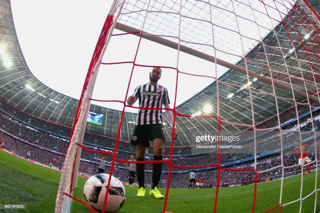 Michael Hector of Frankfurt reacts receiving the first goal during the Bundesliga match between Bayern Muenchen and Eintracht Frankfurt at Allianz Arena on March 11, 2017 in Munich, Germany.