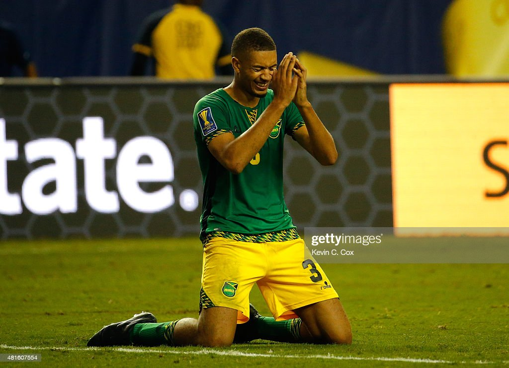 Michael Hector #3 of Jamaica celebrates their 2-1 win over the United States of America during the 2015 CONCACAF Golf Cup Semifinal match between Jamaica and the United States at Georgia Dome on July 22, 2015 in Atlanta, Georgia.